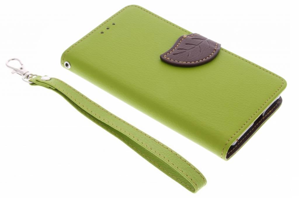 Groene blad design TPU booktype hoes voor de Microsoft Lumia 650