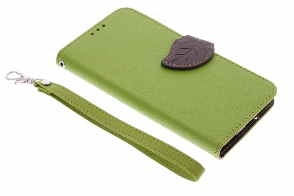 Groene blad design TPU booktype hoes voor de Samsung Galaxy S6 Edge