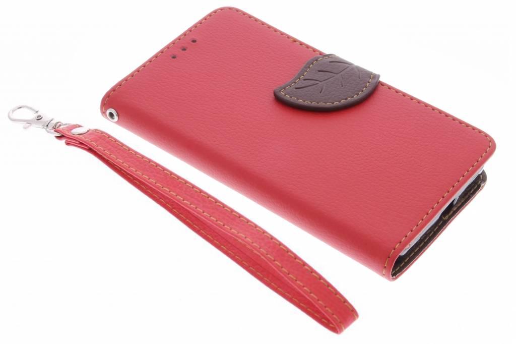 Rode blad design TPU booktype hoes voor de Microsoft Lumia 650