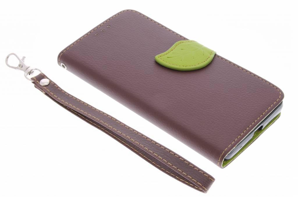 Bruine blad design TPU booktype hoes voor de Microsoft Lumia 950
