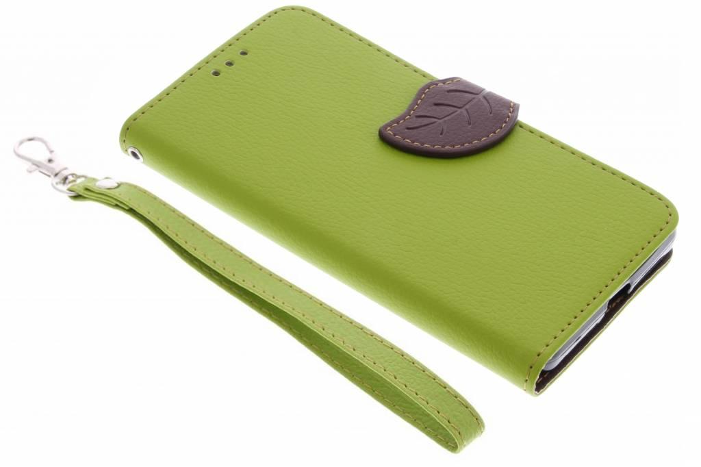 Groene blad design TPU booktype hoes voor de Microsoft Lumia 950