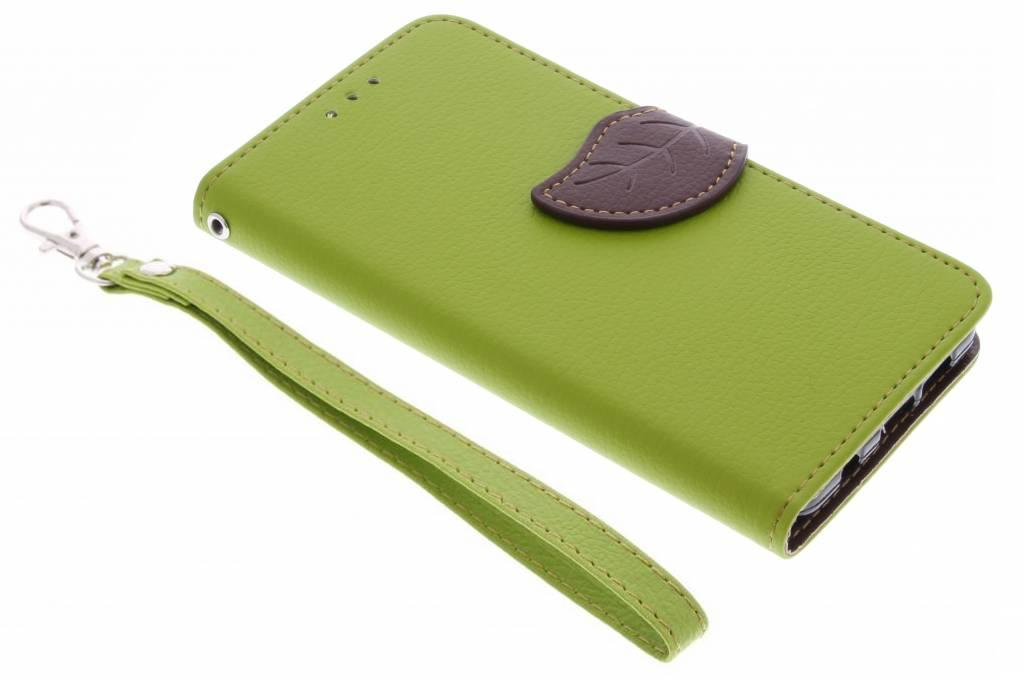 Groene blad design TPU booktype hoes voor de Samsung Galaxy S7 Edge
