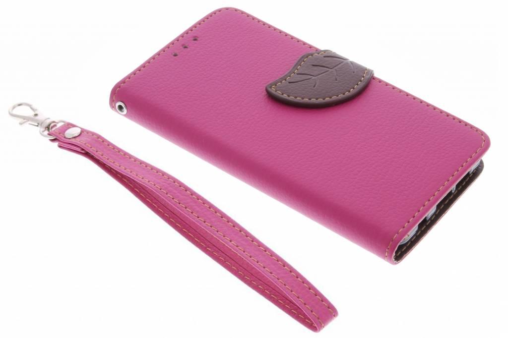 Fuchsia blad design TPU booktype hoes voor de Samsung Galaxy S7 Edge