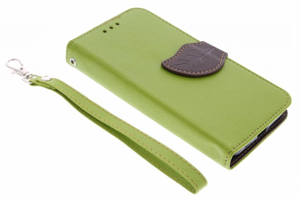 Groene blad design TPU booktype hoes voor de Motorola Moto X