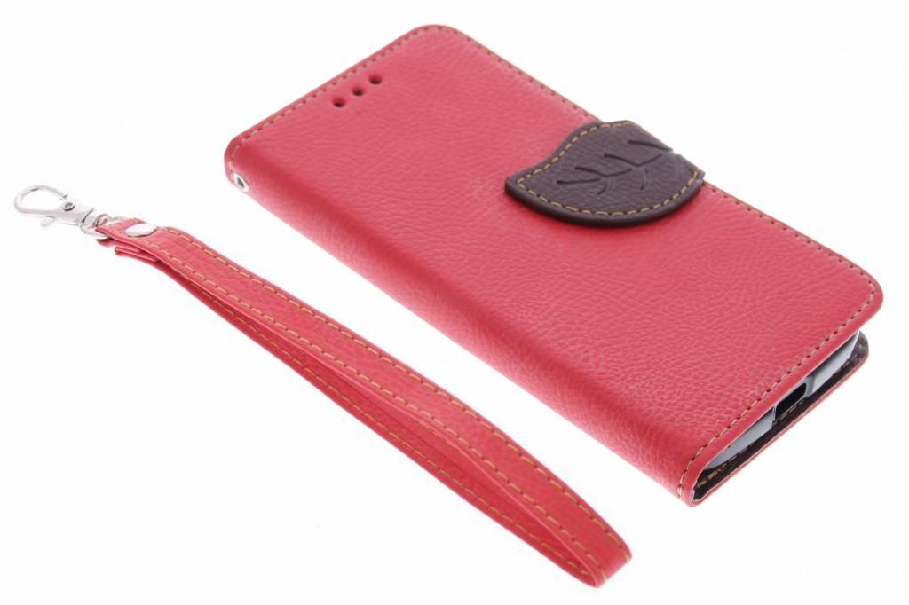 Rode blad design TPU booktype hoes voor de Motorola Moto X