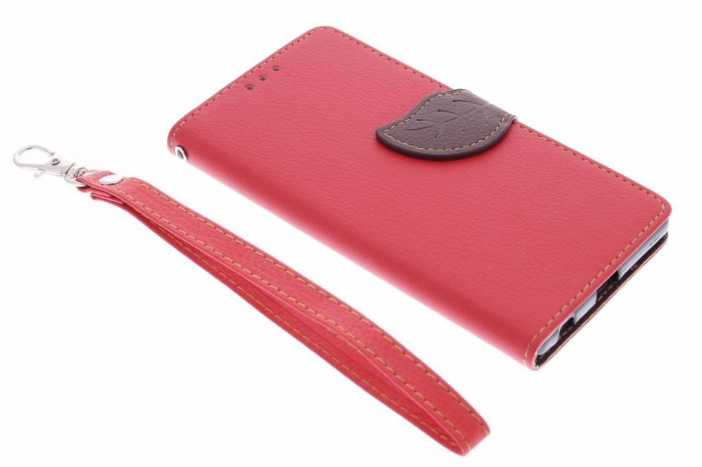 Rode blad design TPU booktype hoes voor de Sony Xperia Z5