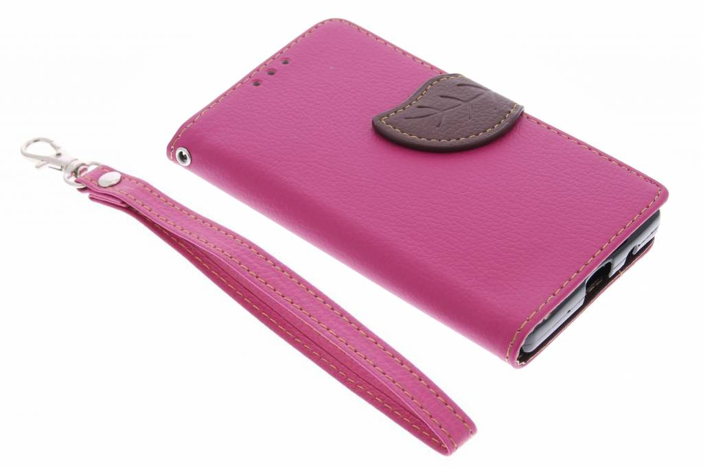 Fuchsia blad design TPU booktype hoes voor de Sony Xperia Z5 Compact