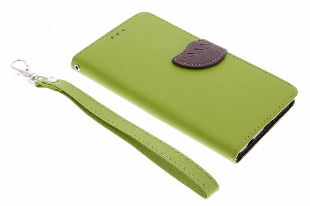 Groene blad design TPU booktype hoes voor de Sony Xperia Z5 Premium