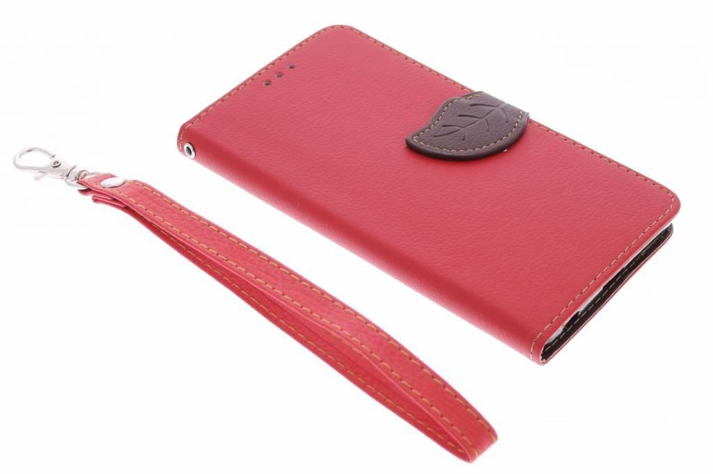 Rode blad design TPU booktype hoes voor de Sony Xperia Z5 Premium