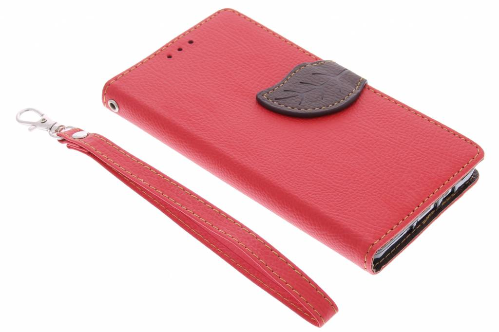 Rode blad design TPU booktype hoes voor de Samsung Galaxy A5