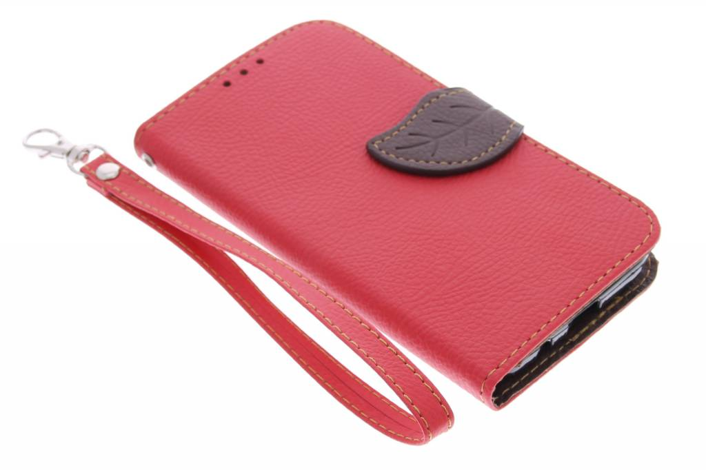 Rode blad design TPU booktype hoes voor de Samsung Galaxy Core Prime