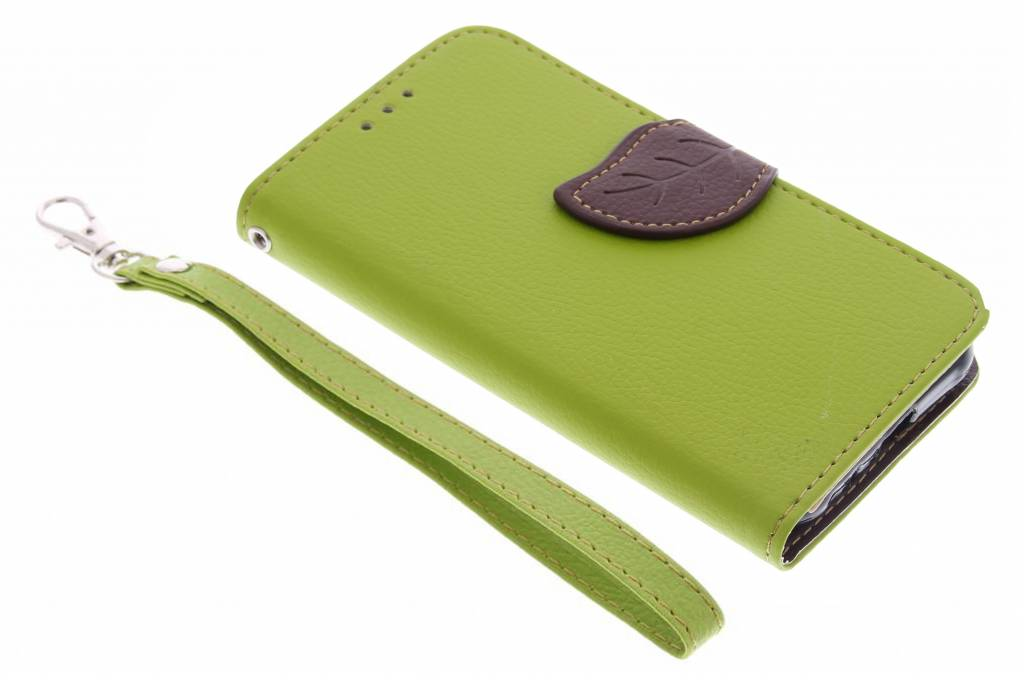 Groene blad design TPU booktype hoes voor de Samsung Galaxy J1