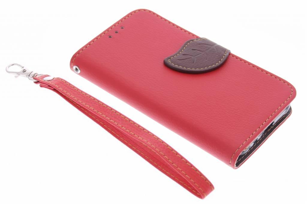 Rode blad design TPU booktype hoes voor de Samsung Galaxy J1