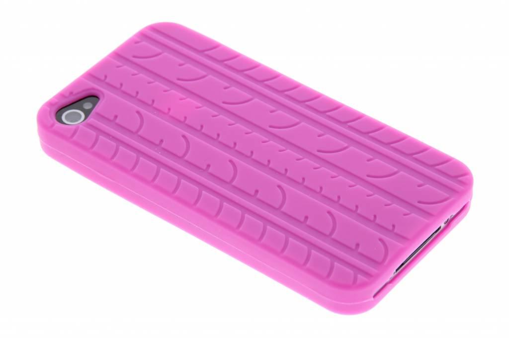 Fuchsia autoband profiel design siliconen hoesje voor de iPhone 4 / 4s