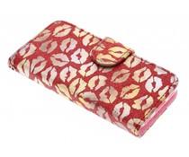 Rood glitter kus TPU booktype hoes iPhone 5c