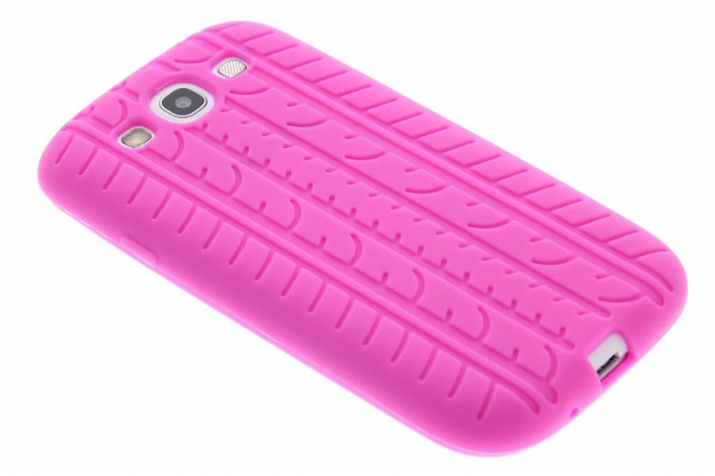 Fuchsia autoband profiel siliconen hoesje voor de Samsung Galaxy S3 i9300