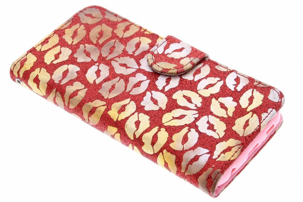 Rode glitter kus TPU booktype hoes voor de Samsung Galaxy S6 Edge