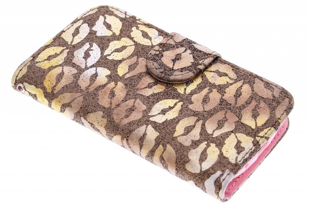 Bruine glitter kus TPU booktype hoes voor de Samsung Galaxy S3 Mini