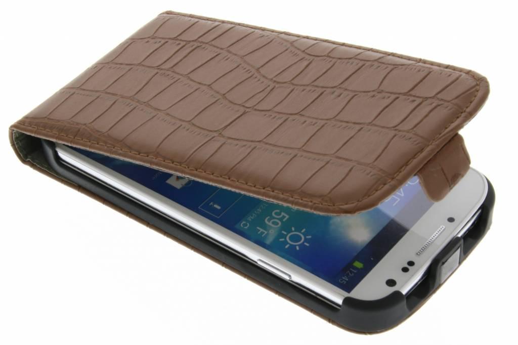 Bruin kunstlederen krokodil flipcase voor Samsung Galaxy S4