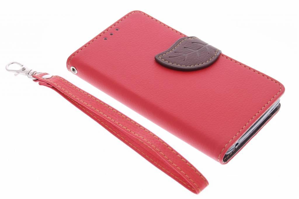 Rode blad design TPU booktype hoes voor de Acer Liquid Z630