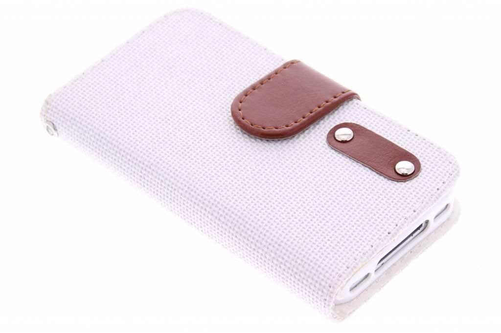 Witte linnen look TPU booktype hoes voor de iPhone 4 / 4s