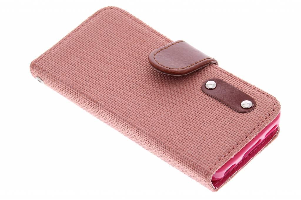 Zalmroze linnen look TPU booktype hoes voor de iPhone 5c