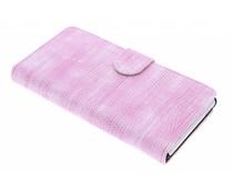 Roze hagedis design booktype hoes Sony Xperia M4 Aqua