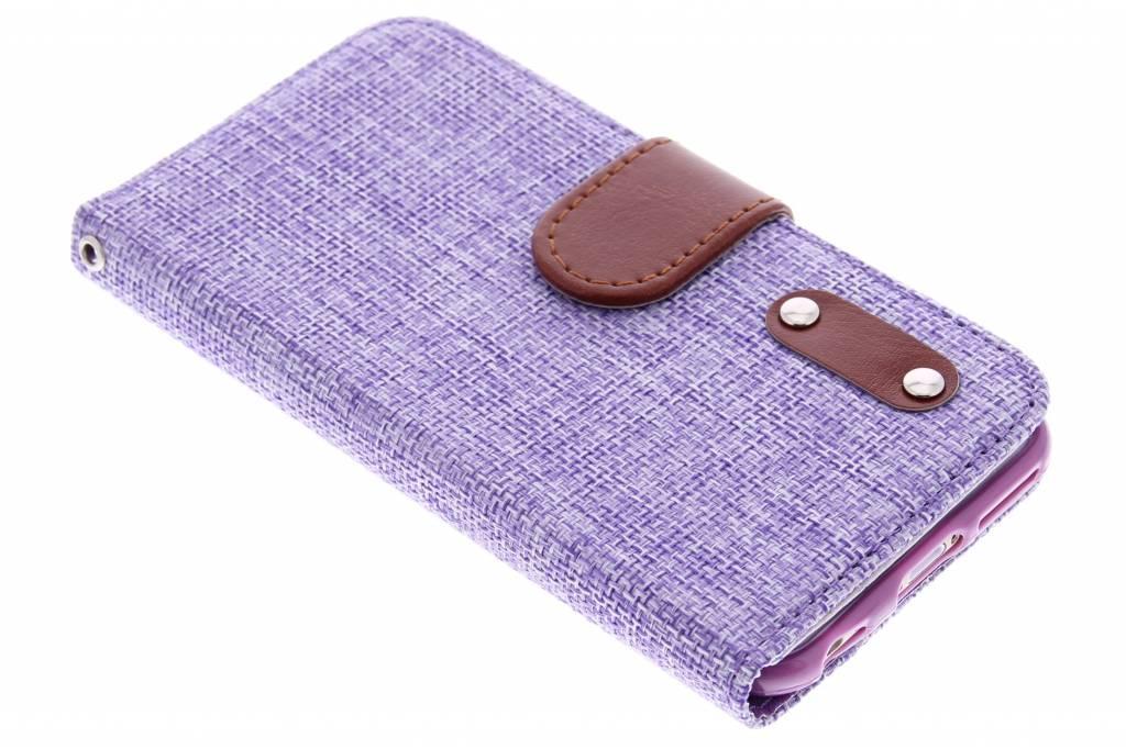 Paarse linnen look TPU booktype hoes voor de iPhone 6 / 6s