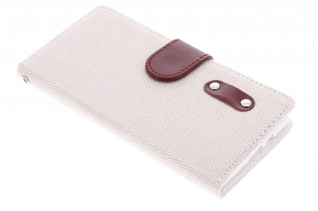 Witte linnen look TPU booktype voor de Samsung Galaxy A5