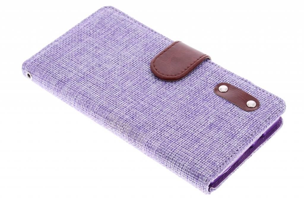 Paarse linnen look TPU booktype hoes voor de Samsung Galaxy A7