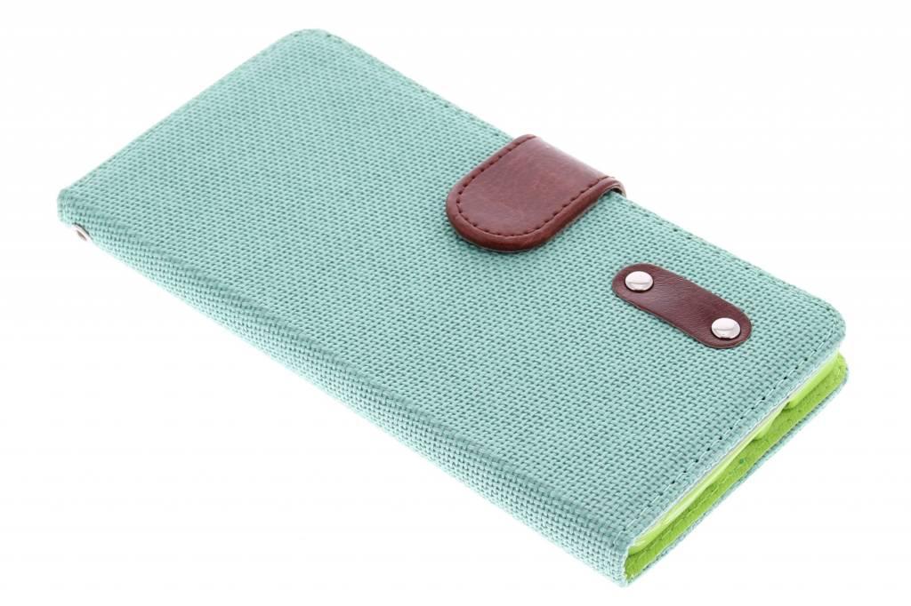 Groene linnen look TPU booktype hoes voor de Samsung Galaxy A7