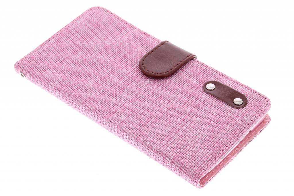 Roze linnen look TPU booktype hoes voor de Samsung Galaxy A7