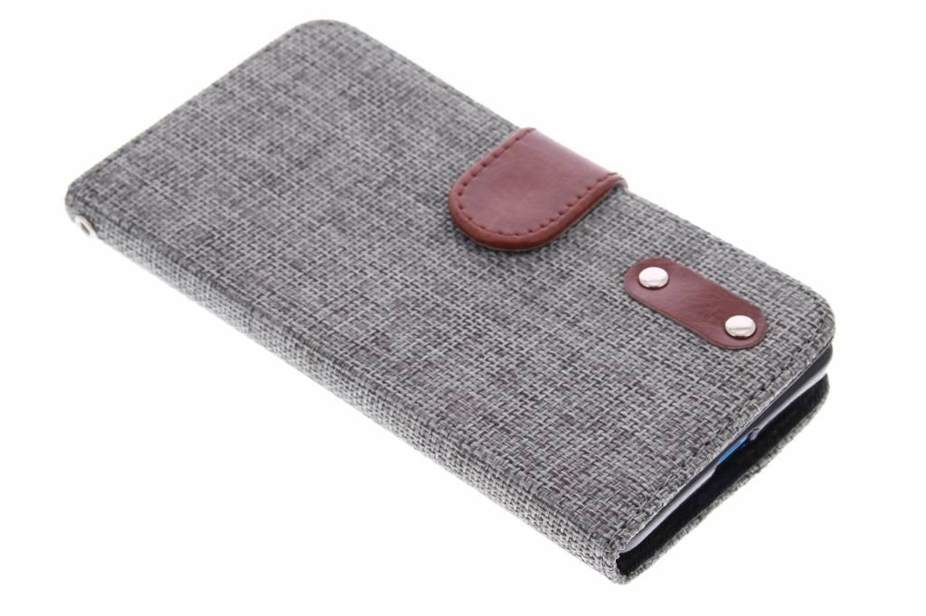 Donkergrijze linnen look TPU booktype hoes voor de Microsoft Lumia 535