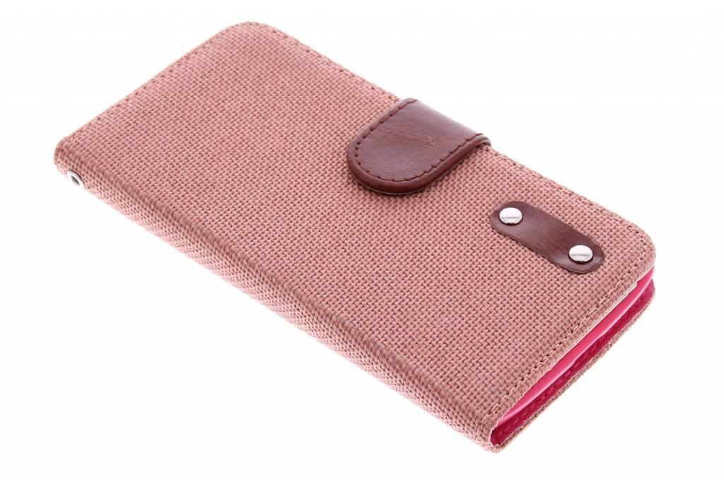 Zalmroze linnen look TPU booktype hoes voor de Microsoft Lumia 535