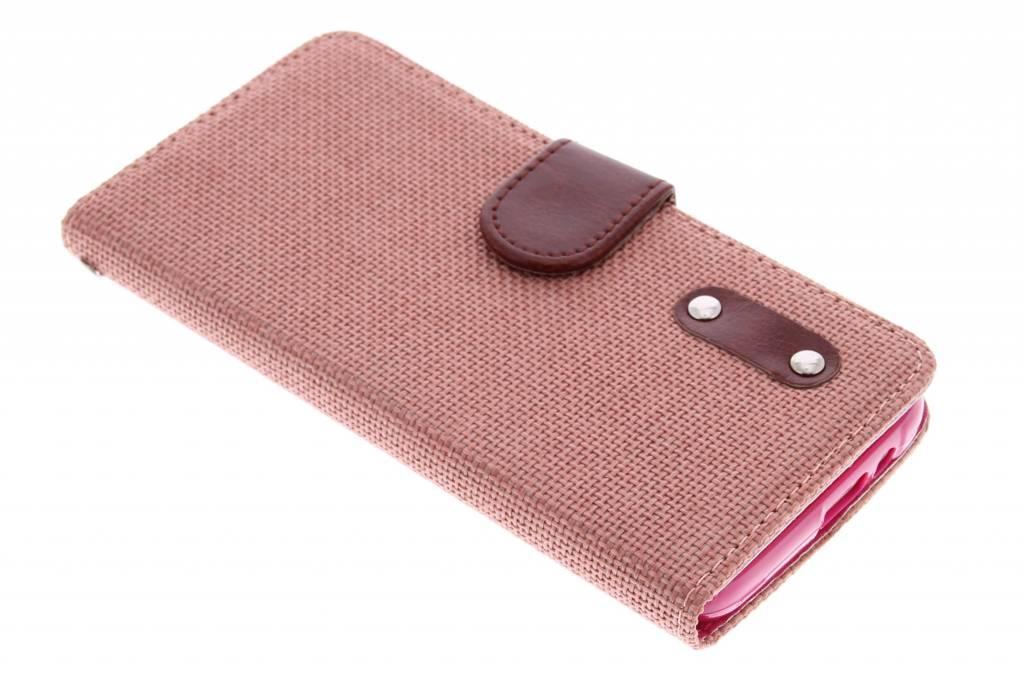 Zalmroze linnen look TPU booktype hoes voor de HTC One M9
