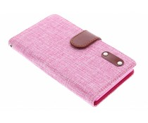 Roze linnen look TPU booktype hoes Sony Xperia Z3
