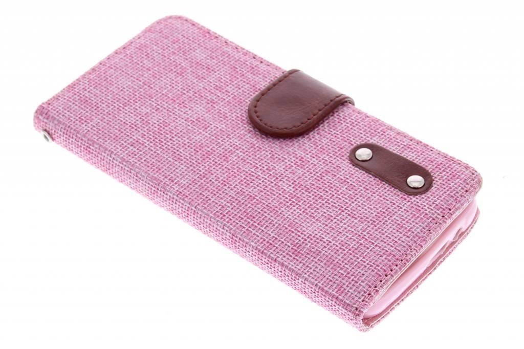 Roze linnen look TPU booktype hoes voor de HTC One M9