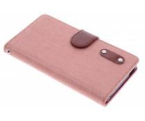 Zalmroze linnen look TPU booktype Sony Xperia M4 Aqua