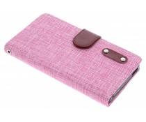 Roze linnen look TPU booktype Sony Xperia M4 Aqua