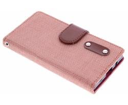 Zalmroze linnen look booktype hoes Sony Xperia Z5 Compact