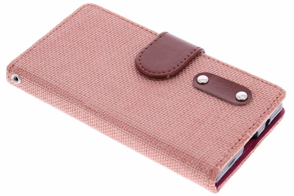 Zalmroze linnen look booktype hoes voor de Sony Xperia Z5 Compact