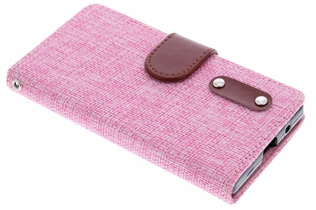Roze linnen look booktype hoes voor de Sony Xperia Z5 Compact
