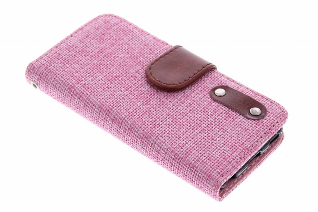 Roze linnen look TPU booktype hoes voor de iPod Touch 5g / 6