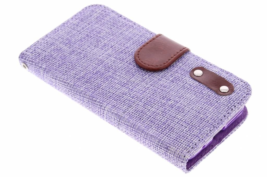 Paarse linnen look TPU booktype hoes voor de Samsung Galaxy Core Prime