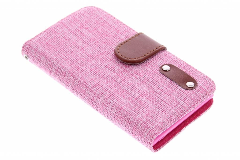 Roze linnen look TPU booktype hoes voor de Huawei Ascend G6