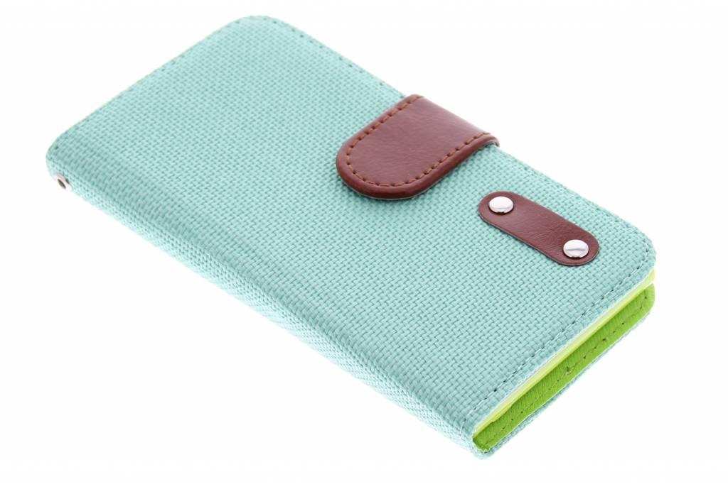 Groene linnen look TPU booktype hoes voor de Huawei Ascend G6