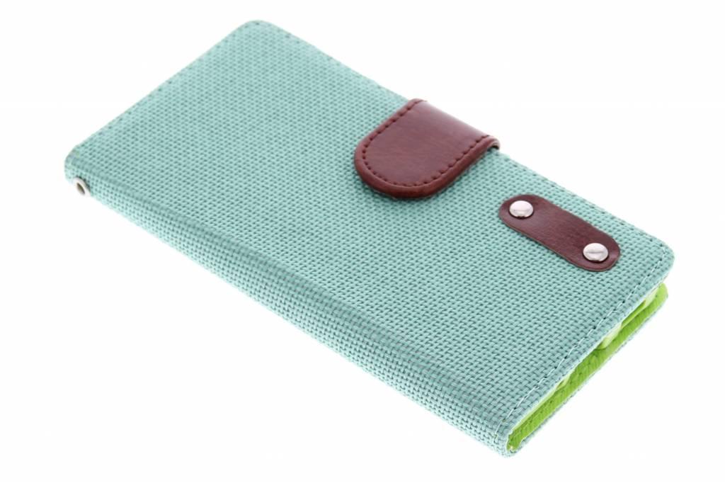 Groene linnen look TPU booktype hoes voor de Samsung Galaxy Alpha