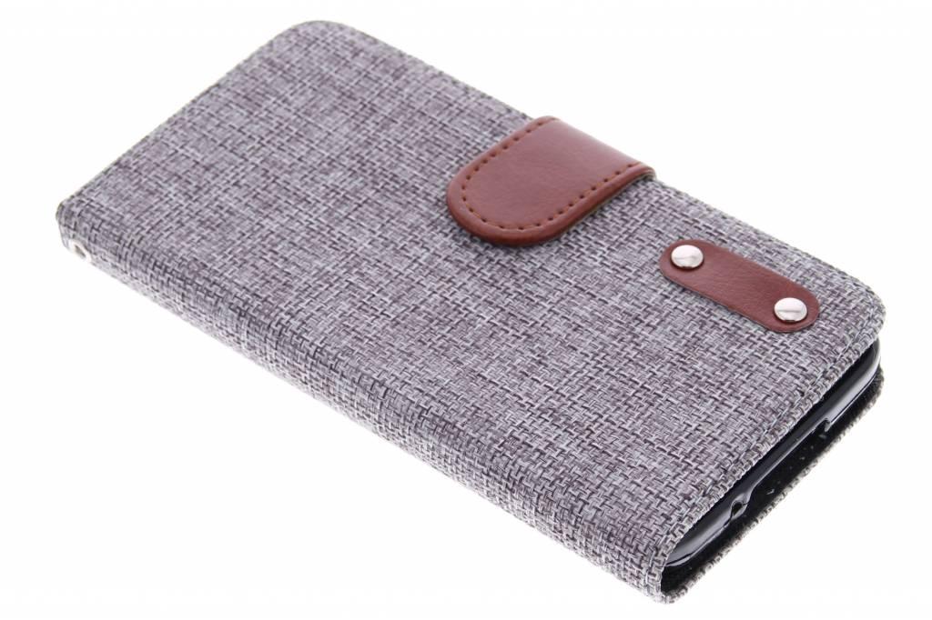 Lichtgrijze linnen look TPU booktype hoes voor de Samsung Galaxy S5 (Plus) / Neo