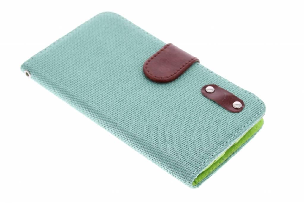 Groene linnen look TPU booktype hoes voor de Samsung Galaxy Grand (Neo)