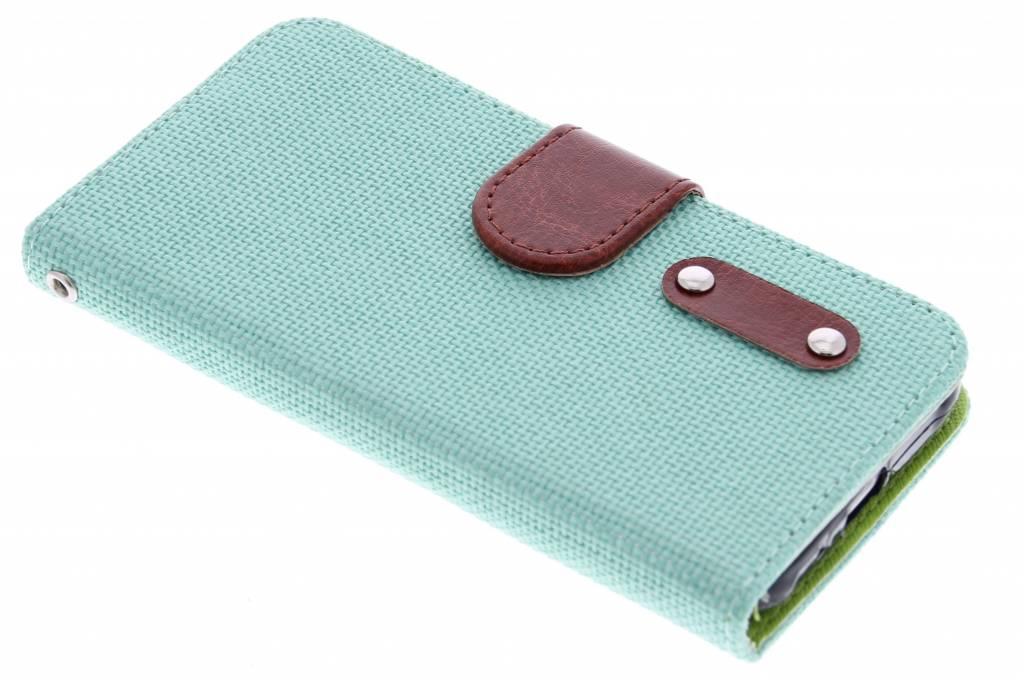 Groene linnen look TPU booktype hoes voor de Samsung Galaxy J1